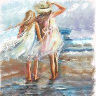 ילדות,חוף תל אביב, ציור שמן, ציור למכירה, צייר ישראלי, בן רוטמן