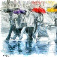עיר, אורבני ,צבעי שמן, אנשים ,ציור