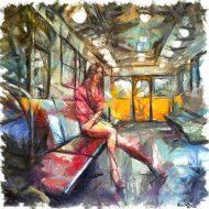 ברכבת בפריז ב-03:00 בבוקר ישבה אישה לבדה בקרון ,משהו נדיר , אז ציירתי