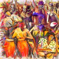שמחת החיים,מוסיקה, ריקוד, ציור שמן, ציור למכירה, בן רוטמן