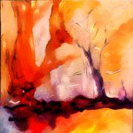 עץ בודד ציירתי בסגנון מופשט/אבסטרקטי