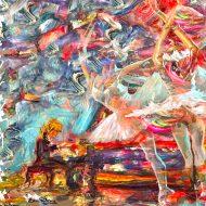מוסיקה, ריקוד, פסנתרן, קצב,צבעוני,ציור שמן