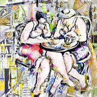 ממתיקות סוד, נשים בית קפה, ציור , פופו ארט,